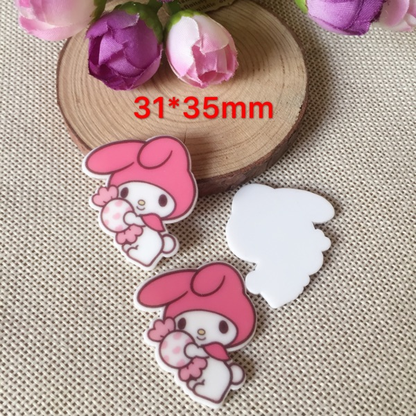 10pcs Kawaii cartoon flat back planar resin My Melody Figurine Rabbit Home decoration cr ...