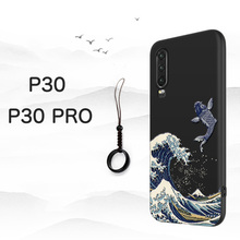 Great Emboss Phone case For Huawei P30 PRO cover Kanagawa Waves Carp Cranes 3D Giant relief