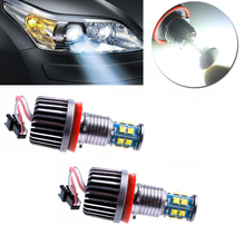 2Pc 120W White Halo Angel Eyes H8 Ring LED Canbus Bulbs For BMW E92E87