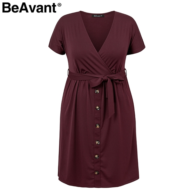 BeAvant Casual women plus size dress summer 2019 V neck short sleeve high waist dress female Buttons loose midi dress vestidos 4