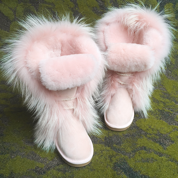 Hot Sale Pink Fur Keep Warm Cotton Shoes Winter Boots Rubber Sole Flat Bottom Snow Boots Fashion Australia Boots Women Real Pics цена