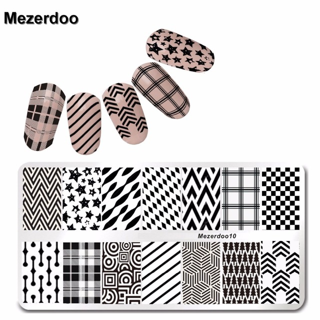 grid stylish checked stamping plates stripe nail art stamp template