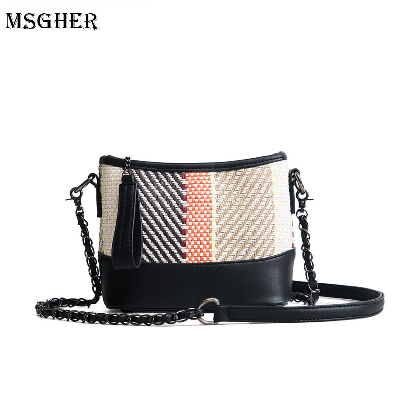 M.S Panelled Plaid Woven Straw Bag For Women Patchwork Summer Mini Flap Beach Bags Vogue Zipper Knitting Shoulder Handbags SW033