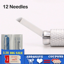 100pcs Microblading Tattoo Needles 12 pins for Microblading Embroidery Pen Pernement Makeup Eyebrow Tattoo Supplies