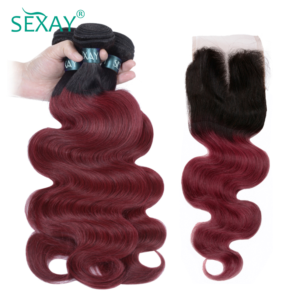 SEXAY Burgundy Ombre Human Hair With Closure Brazilian Body Wave 3/4 Bundles With Closure Non Remy Wine Red Colored Hair Weave