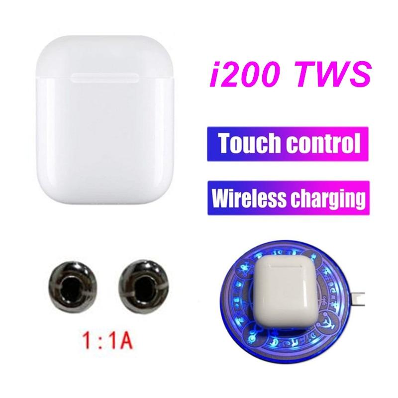 Support de charge sans fil Original i200 TWS 1:1 taille Bluetooth 5.0 6D super basse écouteurs pour tous les téléphones intelligents PK i100tws