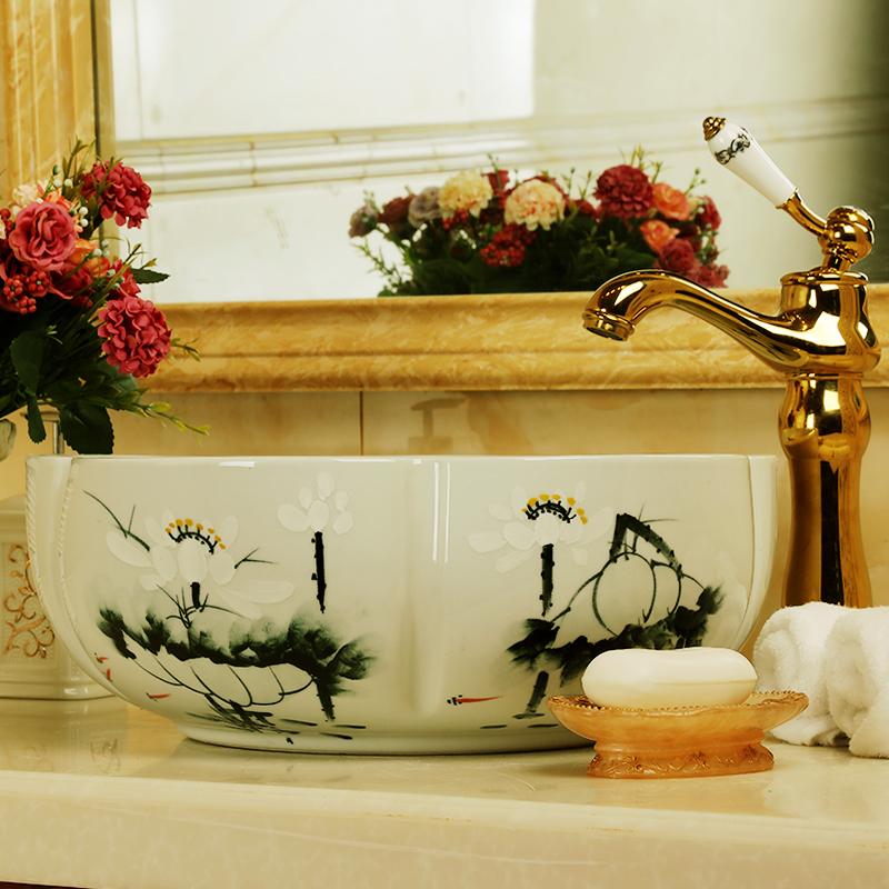 China Handmade Lavabo Washbasin bathroom sink bowl countertop Flower Shape Ceramic wash basin bathroom sink (1)