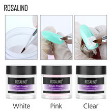 ROSALIND Acrylic Powder Crystal Nail Art Tips Builder Transparent Acrylic Nail Powder Manicure 10g Pink White Clear(China)