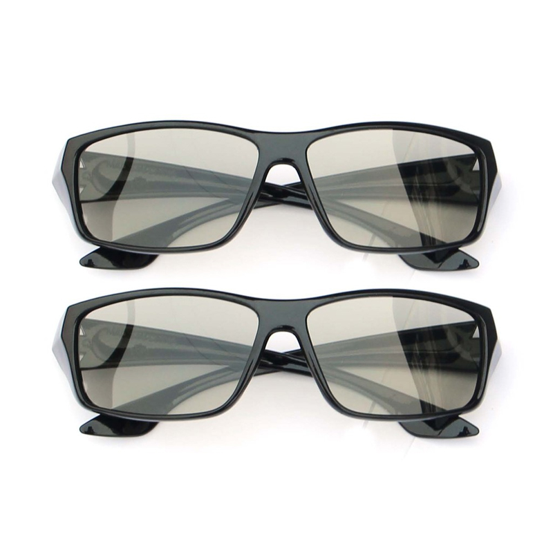 2 Pack Hard Plastic/Metal Circular Passive 3D Glasses For LG,Samsung&All Passive TVs For Watching Real D 3D Movies
