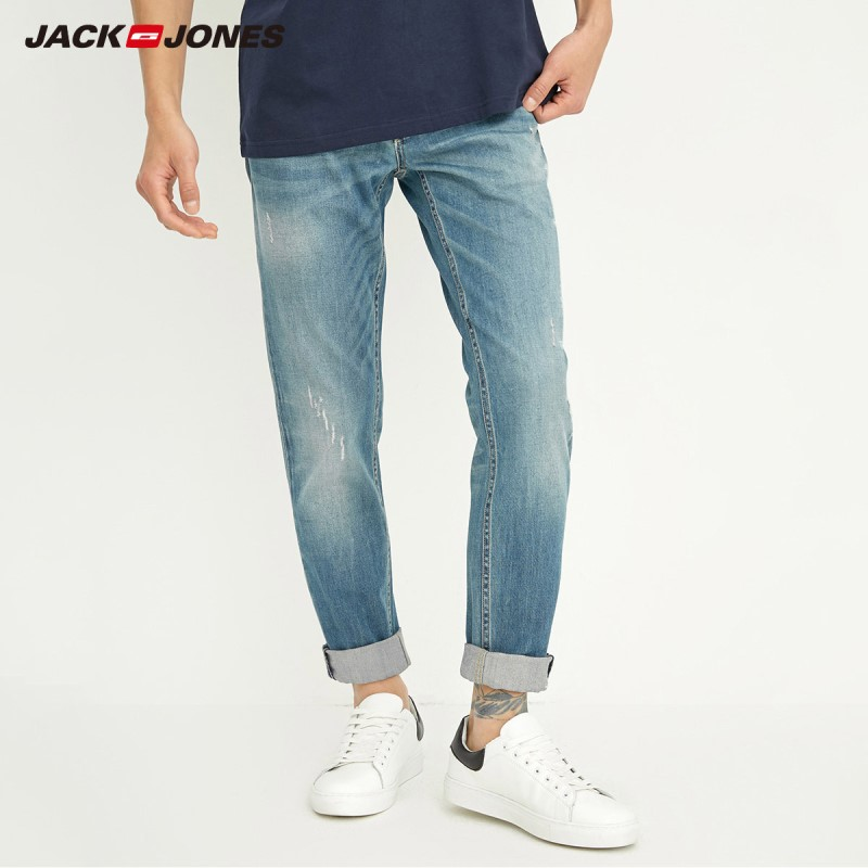 Jack&Jones Men's Autumn & Winter Whiskering Fading Slim Fit   Jeans   J|218332515
