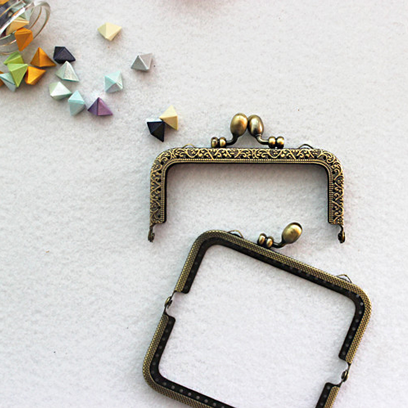 DIY Antique Bronze Flower Bud Head Metal Purse Frame Handle Kiss Clasp Lock for Bag Sewing Craft Tailor Accessories KZ151323