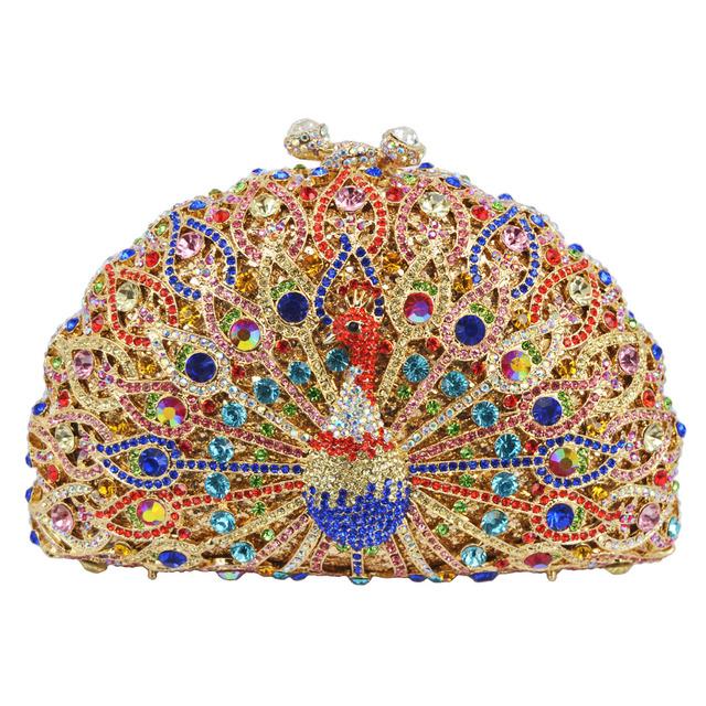 LaiSC Luxury Crystal Evening Bag Peacock Clutch diamond party purse pochette soiree Women evening handbag wedding clutch bag 049