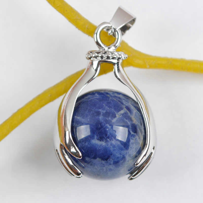 Natural Sodalite Blue Round Bead GEM Pendant Jewelry S338