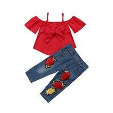 1fe2882e4 1-6 y ropa para niños, niñas, Conjunto de camiseta con correa de hombro +  Pantalones vaqueros de flores bordadas de Denim 2 piez.