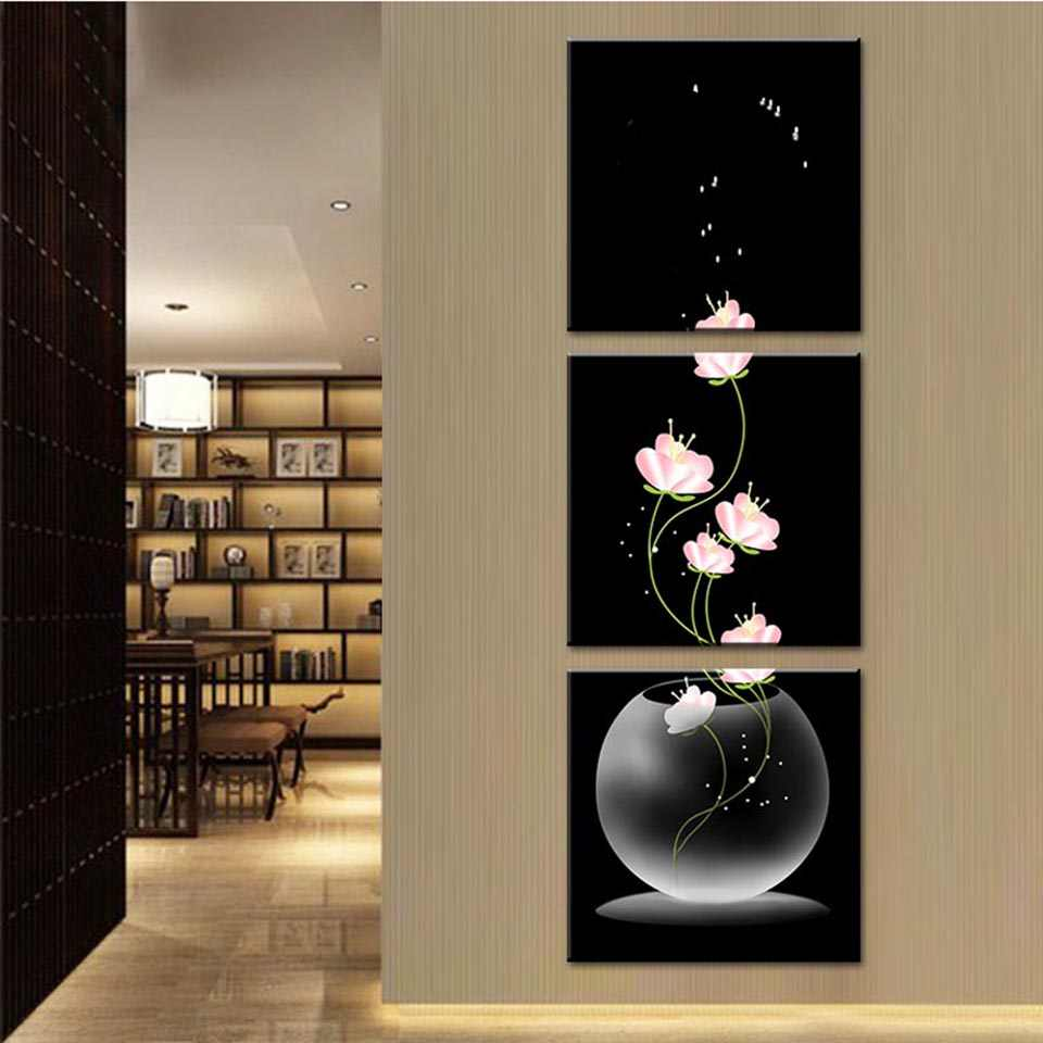Modern Frames For Painting Canvas Cuadros Home Decor 3 Piece Beautiful FLower Porch Vertical Art Wall Printed Modular Picture