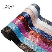 JOJO BOWS 38mm 2y Sparkly Solid Chunky Glitter Ribbon For Needlework Gift Box Wrapping Wedding Party Decoration DIY Hair Bows