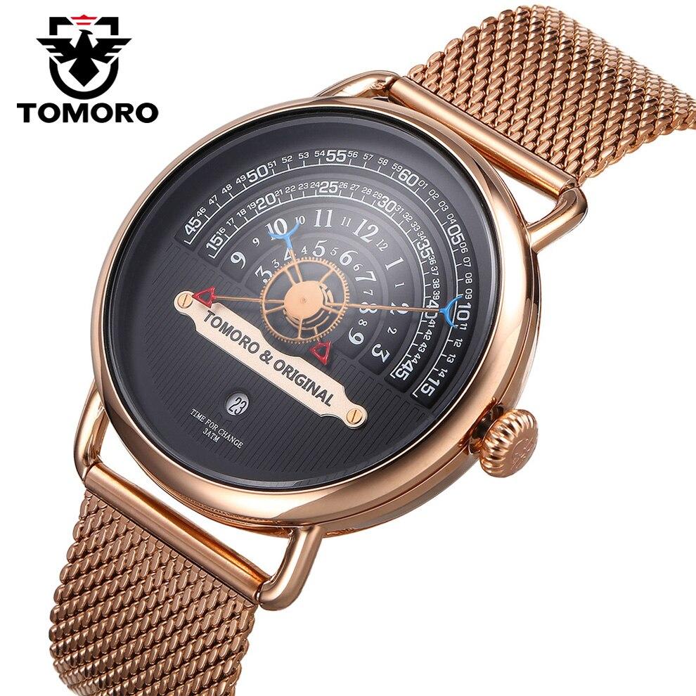 TOMORO 2018 человек творческий XFCS розового золота с сетчатым ремешком Элитный бренд Для мужчин модные спортивные кварцевые часы мастер Бесплатн...