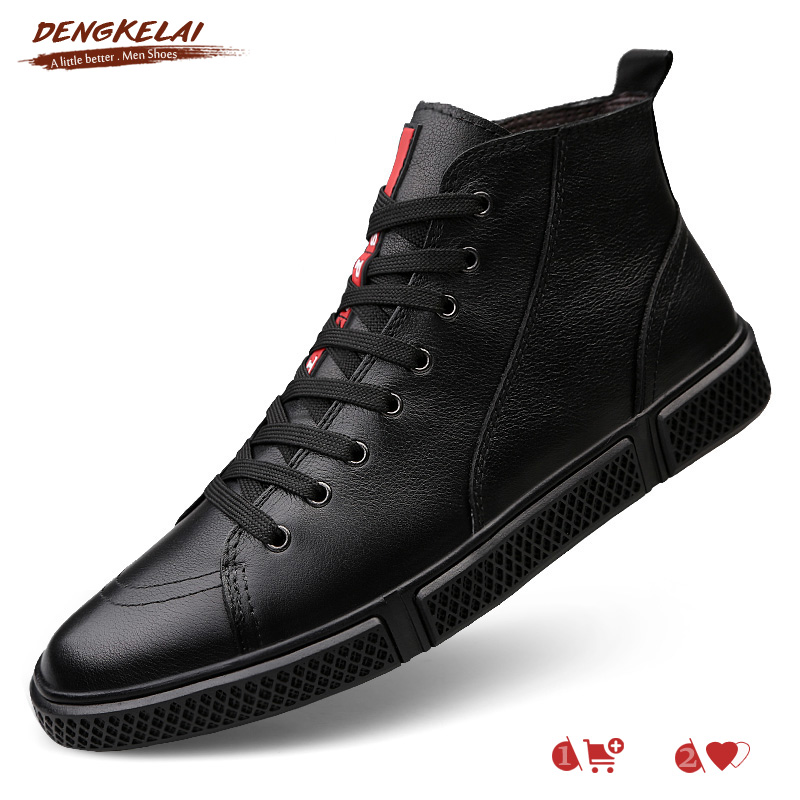 DENGKELAI Winter Sneaker Boots Men's Leather Shoes Full Grain Leather Fashion Ankle Sneakers Men shoes Size 38 47 Black