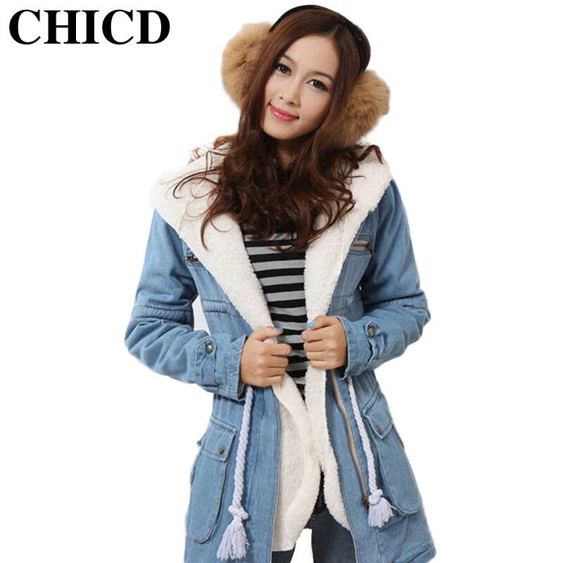 CHICD 2016 Winter Fashion Denim Jacket Women Jackets Plush