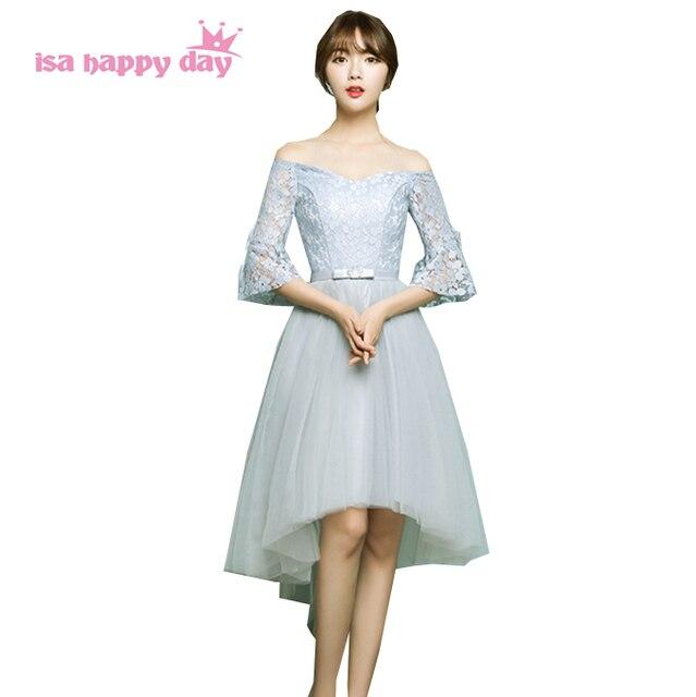4a59ffdb38bf Donna elegante anteriore corto posteriore lungo maniche lunghe di  fidanzamento abiti da sera della fasciatura vestito