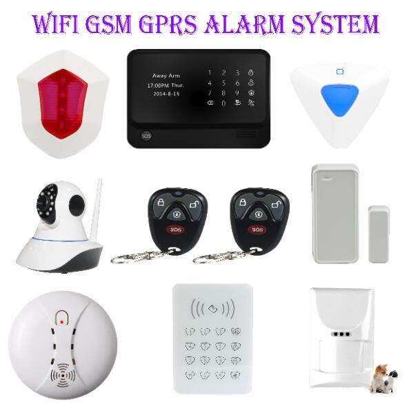 GSM Wifi alarm system APP control wireless indoor siren outdoor siren smoke detector pet immune PIR wifi IP camera alarm
