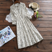 Mori Girl Vintage Vestidos 2017 New Spring Autumn Women Full Sleeved Corduroy Dresses Female Floral Print Dresses Korean Fashion