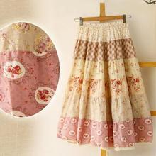 New Summer Bohemia Floral Print skirt Cotton Linen Full One-piece Female