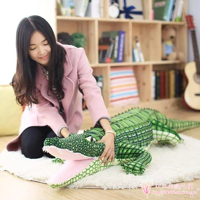 largest 200cm simulation crocodile soft plush toy sleeping pillow birthday gift h977 stripes sweater design prone husky largest 165cm gray husky dog plush toy sleeping pillow surprised christmas gift h907