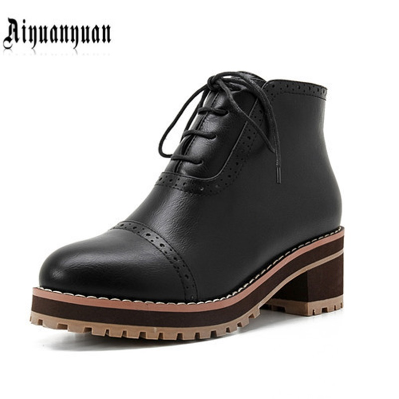 2017 EUR big size to 40 41 42 43 44 45 46 47 48 square heels leisure style lace-up design high quality women shoes FREE SHIPPING free shipping breathable vap id 108905 108917 size eur 40 45