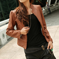 2014 New Arrival Women's Fashion Slim Simple Leather Jacket Coat High Quality Leather Jacket