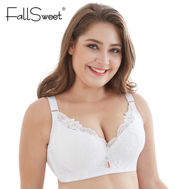 FallSweet Lace Bra Push Up Bra C D Cup Plus Size Women Underwear Underwire Brassiere White Black Pink Blue 34  38 42 46 50