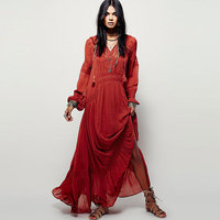 BOHO PEOPLE Bohemia Dresses Split Hem Lacework Splice Deep V Neck Hollow Out Solid Urban Women