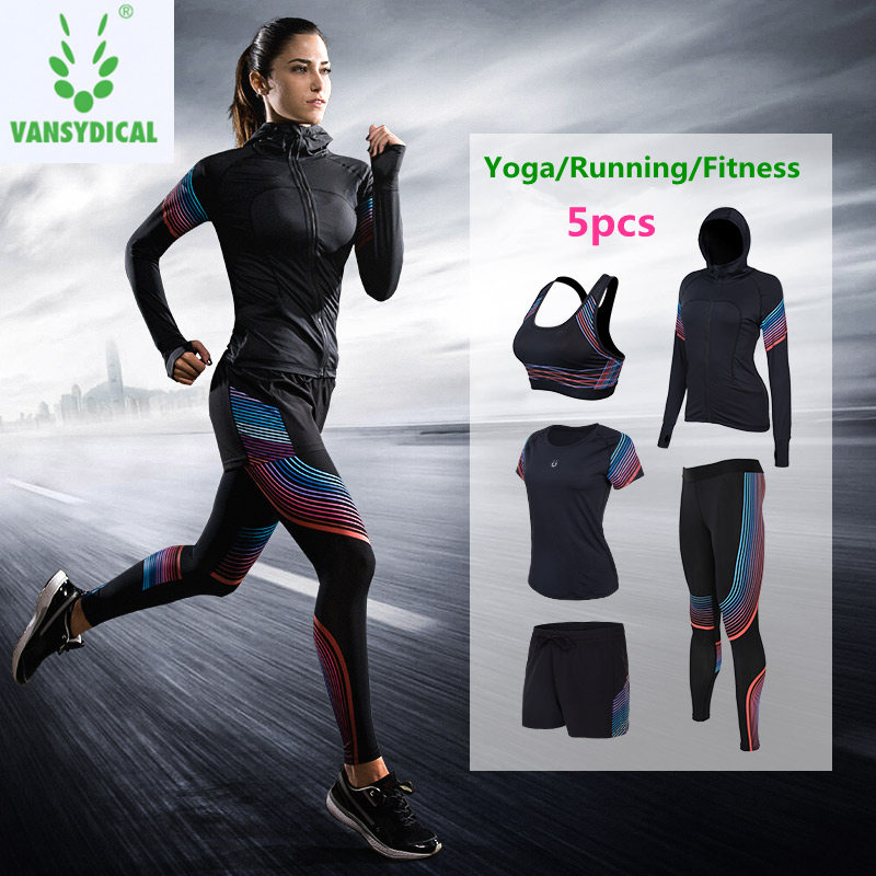 Yoga Women Sportswear Sets 5pcs Coats+t Shirt+bra+shorts+pants Quick Dry Fitness Gym Yoga Clothing Womens Outdoor Sports Running Set Reputation First
