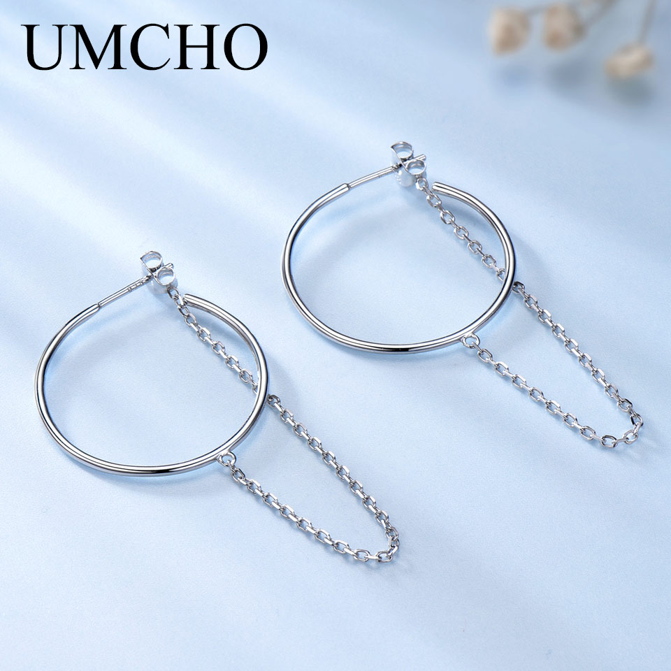 UMCHO Genuine 925 Sterling Silver Circle Earrings Simple Fashion Chain Hoop Earrings For Women Party High Quality Fine Jewelry new luxury brand fine exquisite sunshine full of small earrings for women circle wedding party earrings fashion jewelry