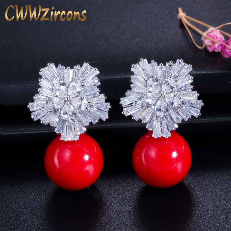 CWWZircons Fashion OL Style Silver Color Cubic Zirconia Setting Large Flower Stud Earrings with Pearls Jewelry for Women CZ282