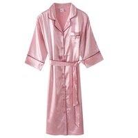 High Grade Real Silk Nightgown Women Big Size Sleepshirt Seven quarter Sleeve Turndown Nightwear Sleepwear Cardigan Nightdress