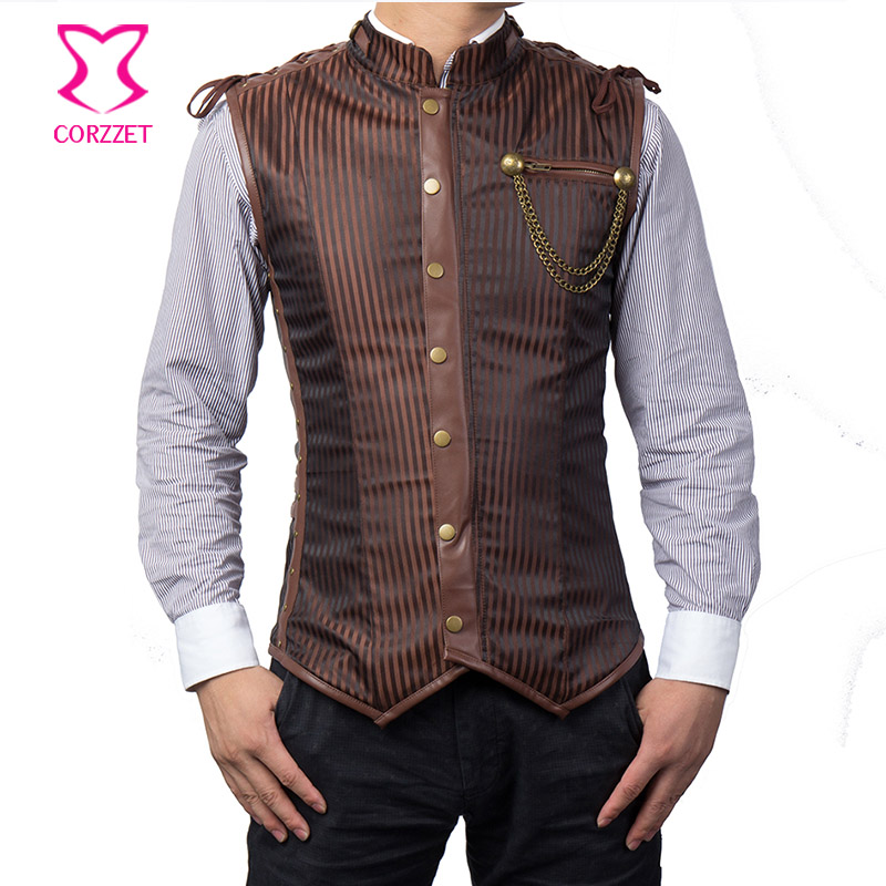 Vintage Brown Striped Stand Collar Steampunk Jacket Coat Mens Waistcoat Gothic Clothing Men Corset Vest Straitjacket