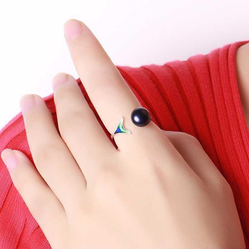 Cauuev ไข่มุกน้ำจืดธรรมชาติ 925 เงินสเตอร์ลิงหญิง Mermaid Tail แหวนนิ้วปรับได้สำหรับงานแต่งงานเครื่องประดับ S925