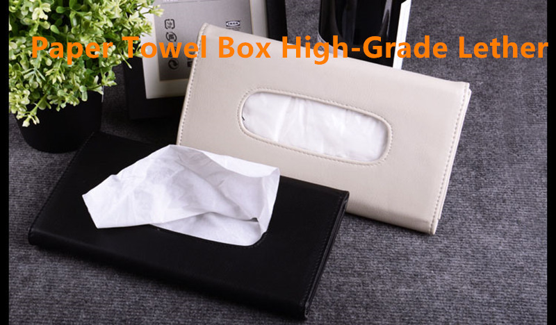 car styling high quality tissue clip storage PU box holder organizner with car logo accessories paper napkin seat back bracket partol removable car tissue box car sun visor tissue paper holder cartoon auto seat back armrest hanging paper napkin container
