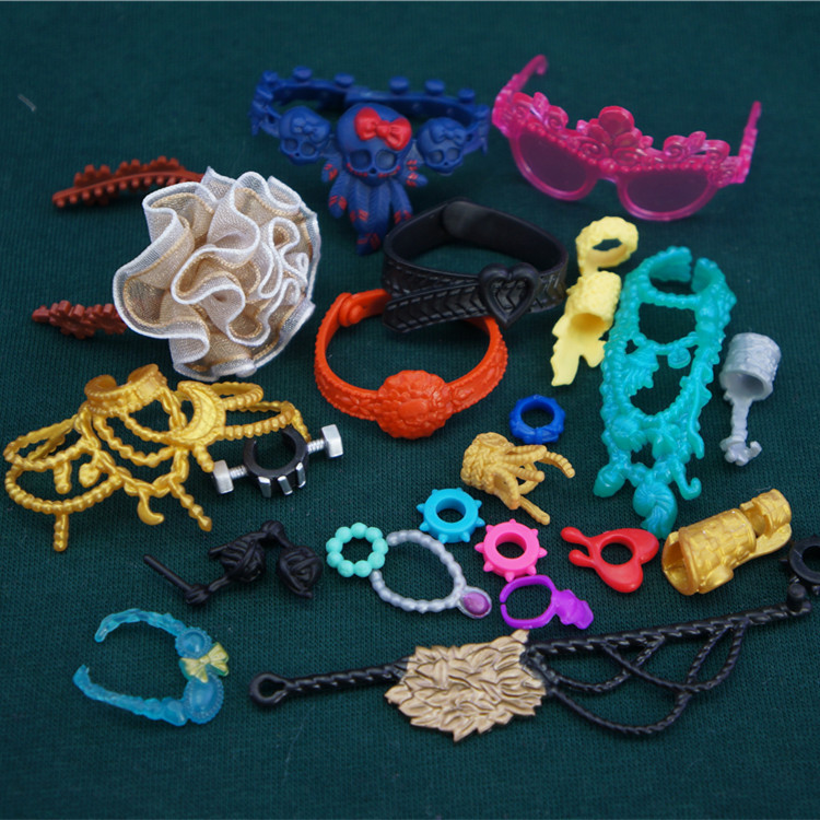 10pcs <font><b>1/6</b></font> doll accessories Doll Jewelry Headdress <font><b>Belts</b></font> Glasses Necklaces replacement for Monster High Doll image