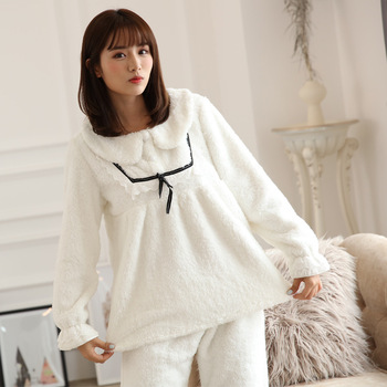 New Womens Pajama Coral Fleece Pajamas female winter clothing Korean lady long sleeved Sweet Princess warm suit Home Clothing Пижама