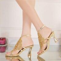 Plus Size 44 Bling Bling Strass Oro Scarpe Estate Aperto Toe Tacco Grosso Scarpe Da Sposa con il Cinturino Alla Caviglia Promenade Del Partito di Dancing tacchi