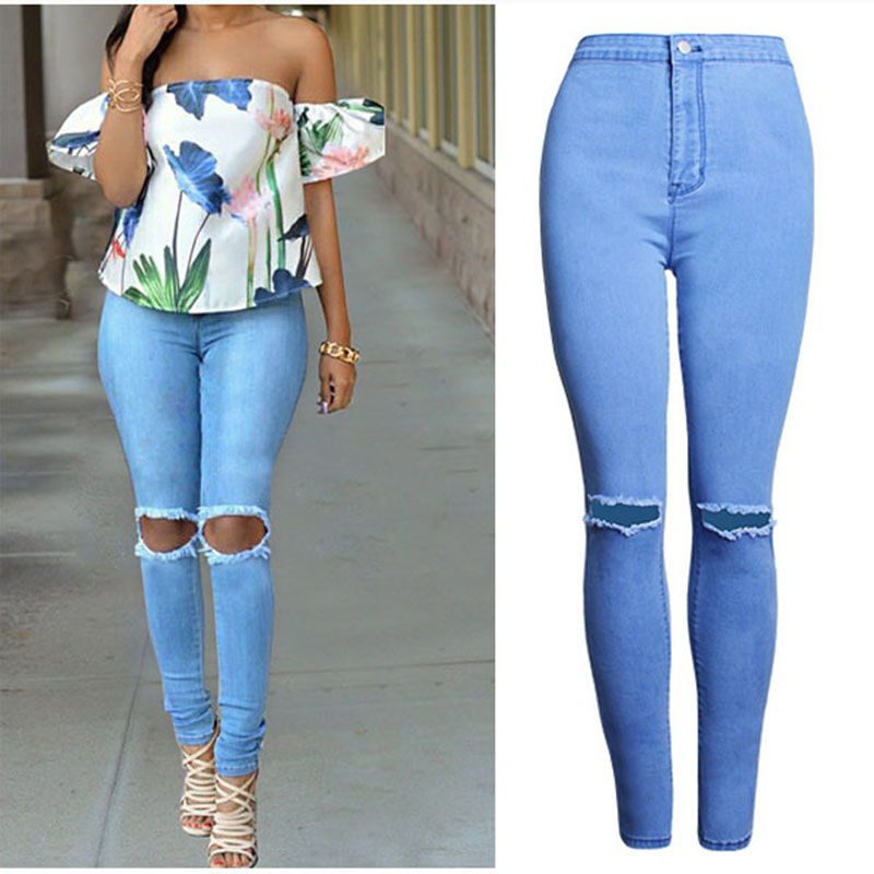2017 Europe Style Cheap Clothes Women Blue Denim Jeans Pants High Waist Stretch Slim Thin Pencil Pants Solid Hole Jeans Trousers 2017 new jeans women spring pants high waist thin slim elastic waist pencil pants fashion denim trousers 3 color plus size
