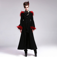 Devil Fashion Gothic Retro Black And Red Warm Women Coats Autumn Winter Punk Red Hooded Fur Long Coats With Flare Cuff