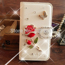 Gorgeous Red Rose Bling Crystal White PU Leather Wallet Case Cover for Coolpad Porto S E570 / 5 inch