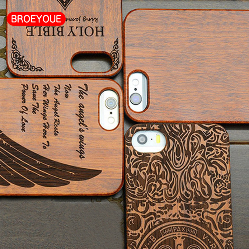 BROEYOUE Wood Bamboo PC Coque For iPhone 7 6 6S 5 5s SE Plus Case For Samsung Galaxy S7Edge Mobile Phone Cases Wooden Hard Cover