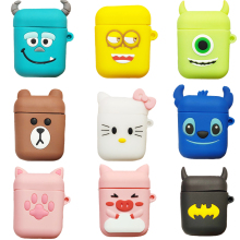 Cute Earphone Case For AirPods Cover For Air Pods Cartoon Accessories For Apple Airpods Silicone Case With Keychain Strap