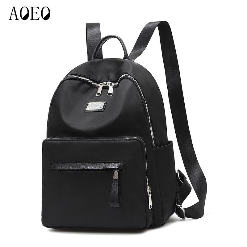27f7e0921bdc AOEO свет Оксфорд непромокаемые маленькие рюкзаки для девочек packbag Наивысшее  качество надежная дорожная сумка черный женский