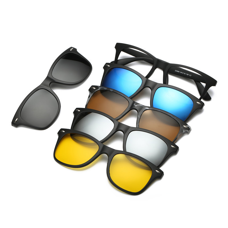 5 <font><b>in</b></font> <font><b>1</b></font> Clip On <font><b>Sunglasses</b></font> with Polarized Mirror Flat Night Vision Magnetic Lens Clips TR90 Optical Myopia Glasses Prescription image
