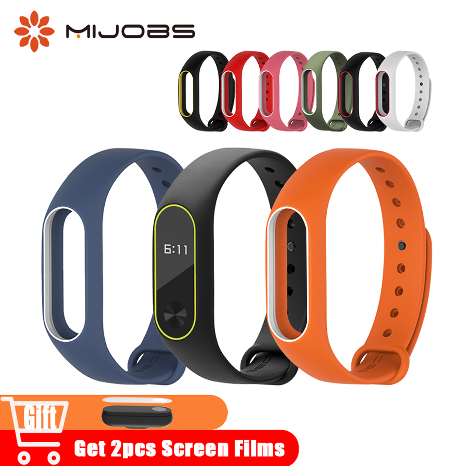 Mijobs Colorful Silicone Wrist Strap Mi Band 2 for xiomi Bracelet Sport for Xiaomi mi Band 2 Accessories Smart Watches Wristband